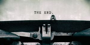 The end words typed on a vintage typewriter