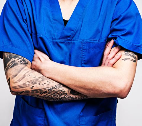 Blue, Arm, Elbow, Hand, Electric blue, Sleeve, Neck, Human body, Finger, Wrist,