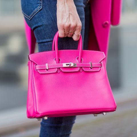 Bag, Pink, Street fashion, Handbag, Red, Magenta, Leather, Fashion, Shoulder, Purple,