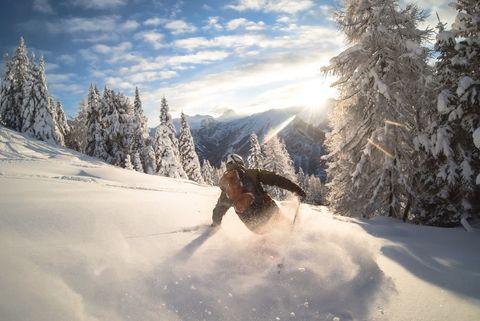Man powder skiing, Alps, Zauchensee, Austria