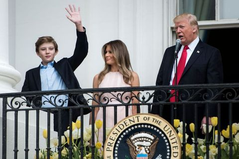 barron trump waving at easter egg roll