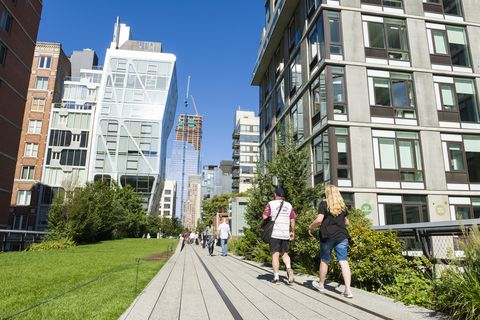 Visitors walk along The High Line