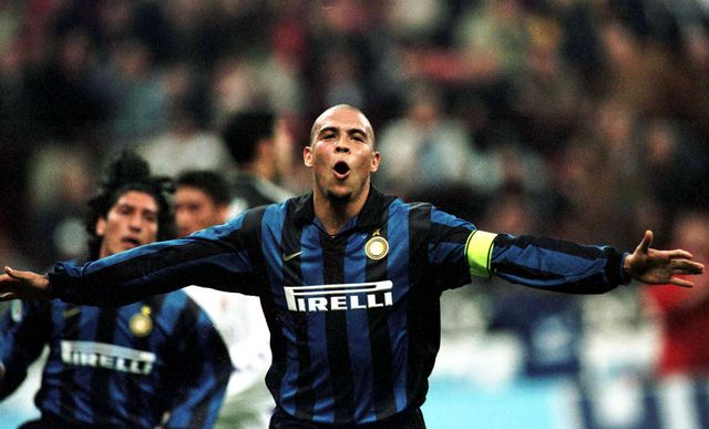"""milan 03 april 1999 ronaldo of inter milan celebrates during the serie a match between inter milan and fiorentina played at the """"giuseppe meazza"""" in milan"""