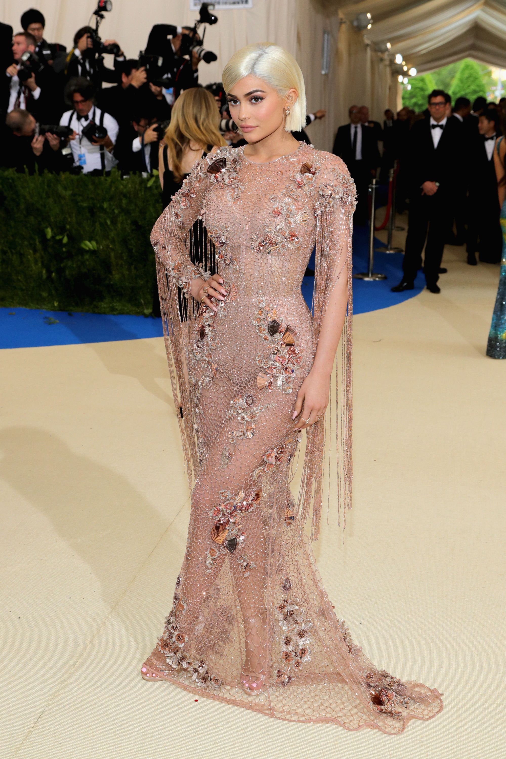 Kylie Jenner in her nude Versace designed at the Met Gala 2017