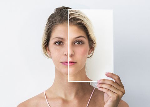 both people appearing in this image are the same person retouched to look old and young
