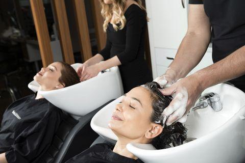 Hair, Beauty salon, Hairdresser, Skin, Beauty, Hairstyle, Eyebrow, Barber, Makeup artist, Hand,
