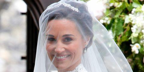 Clothing, Bridal veil, Veil, Bridal clothing, Forehead, Photograph, Wedding dress, Bride, Happy, Bridal accessory,