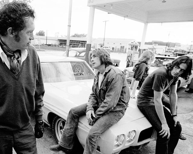 from left to right, actor warren oates as gto, singer songwriter james taylor as the driver, actress laurie bird as the girl and beach boys drummer dennis wilson as the mechanic in the film two lane blacktop, 1971  photo by silver screen collectiongetty images