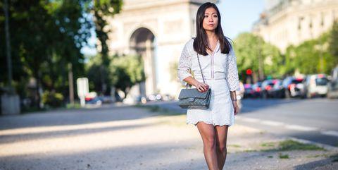 White, Clothing, Photograph, Street fashion, Fashion, Denim, Snapshot, Footwear, Beauty, Shoulder,