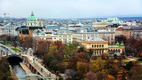 High angle view of Vienna skyline cityscape, Austria