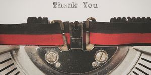 Thank You Written On Old Typewriter