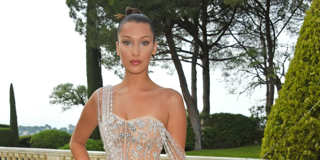 Bella Hadid's Icy Naked Dress Is Barely Hanging On