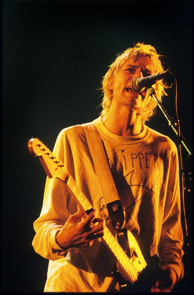 Kurt Cobain performs in Paris, France in 1992.