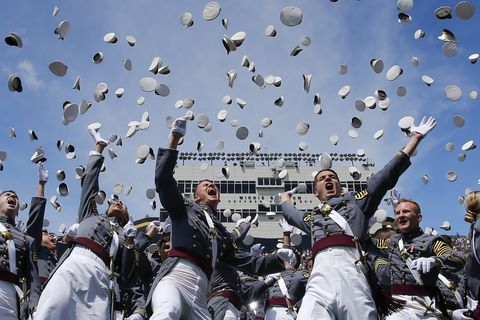 west point, ny   may 27  west point graduates toss their hats in the air at the conclusion of the us military academy class of 2017 graduation ceremony at michie stadium on may 27, 2017 in west point, new york us defense secretary jim mattis addressed the 950 graduating cadets during the ceremony photo by eduardo munoz alvarezgetty images
