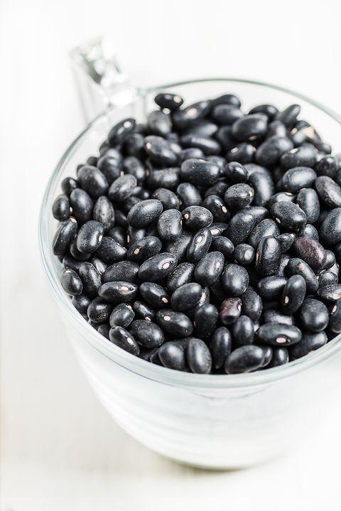 View Of Black Bean In Transparent Glass Mug