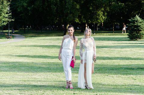 White, Lawn, Grass, Standing, Dress, Summer, Wedding, Fun, Ceremony, Tree,