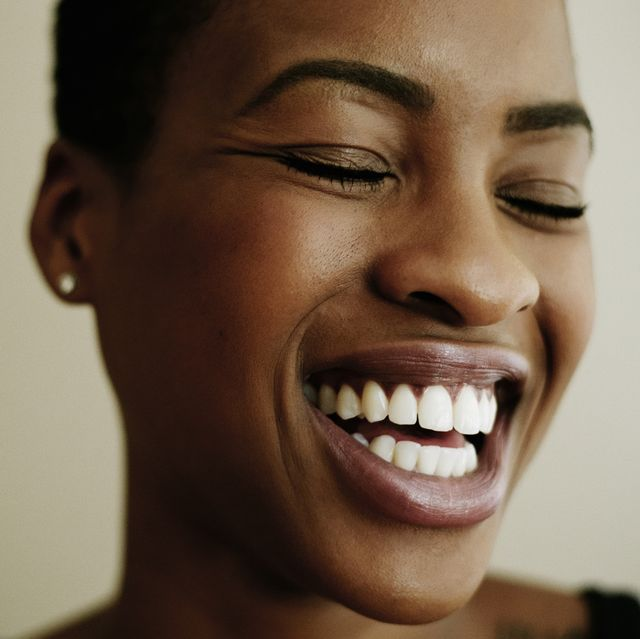 portrait of face of laughing woman