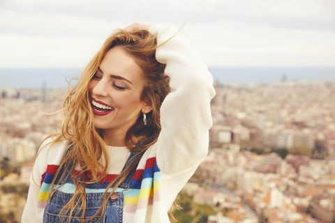 People in nature, Hair, Beauty, Blond, Skin, Lip, Yellow, Smile, Hairstyle, Happy,