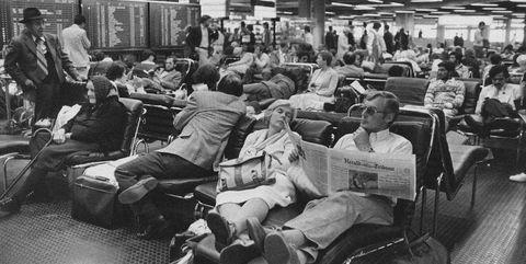 Passenger, Transport, Crowd, Monochrome, Black-and-white, Room, Sitting,