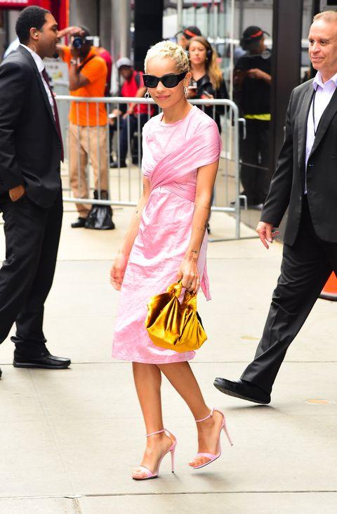 Street fashion, Clothing, Footwear, Yellow, Dress, Fashion, Leg, Shoulder, Snapshot, Pink,