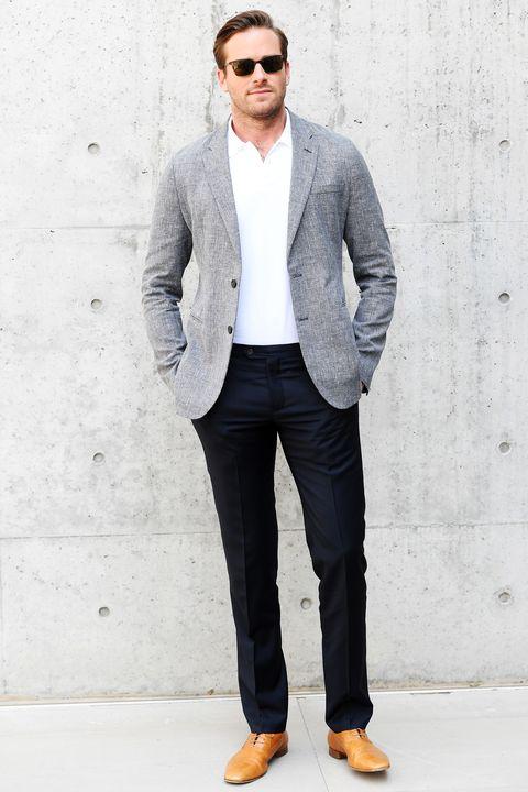 Clothing, White, Suit, Blazer, Outerwear, Jacket, Formal wear, Jeans, Fashion, Eyewear,