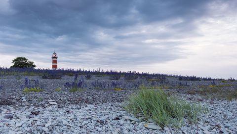 Sky, Natural landscape, Lighthouse, Cloud, Natural environment, Tower, Grass, Shore, Sea, Horizon,
