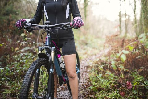 female mountain biker