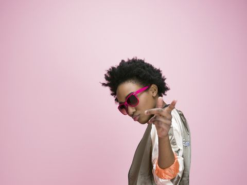 Hair, Eyewear, Pink, Purple, Hairstyle, Cool, Glasses, Forehead, Human, Lip,