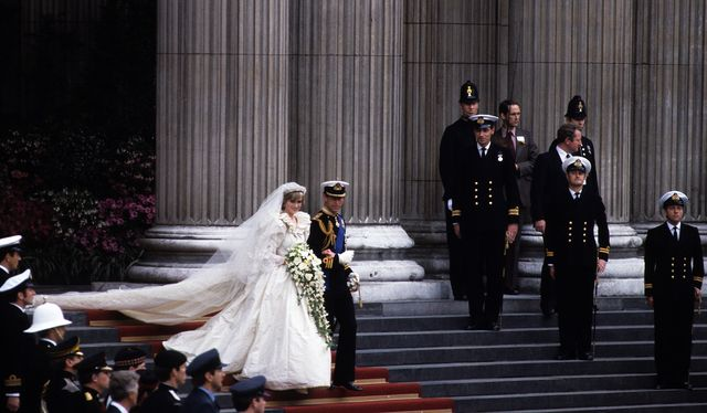 london, england   july 29 prince charles, prince of wales and diana, princess of wales, wearing a wedding dress designed by david and elizabeth emanuel and the spencer family tiara, leave st pauls cathedral following their wedding on july 29, 1981 in london, england photo by anwar husseingetty images