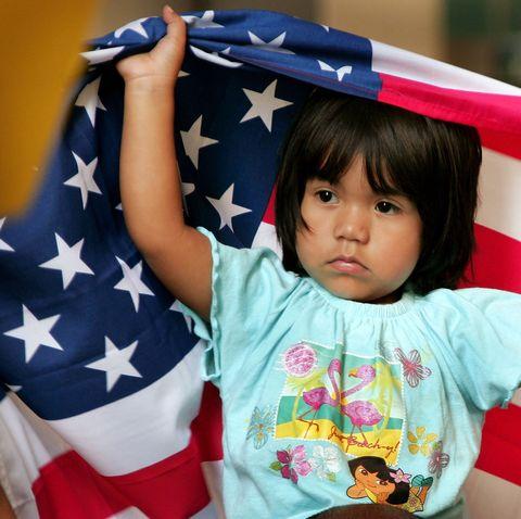 Child, Flag, Toddler, Fun, Play,