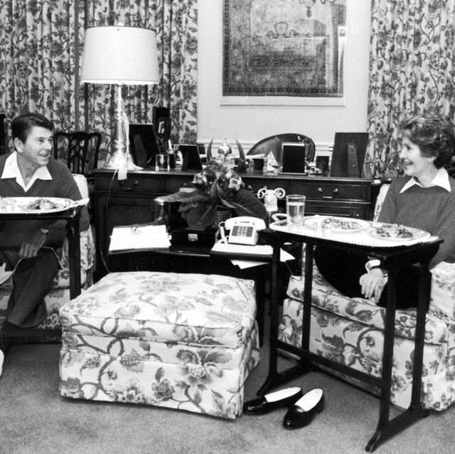 united states   november 01  president ronald reagan and wife nancy sitting with array of snacks in front of them in the presidential study of the white house  photo by michael evansthe life images collection via getty imagesgetty images