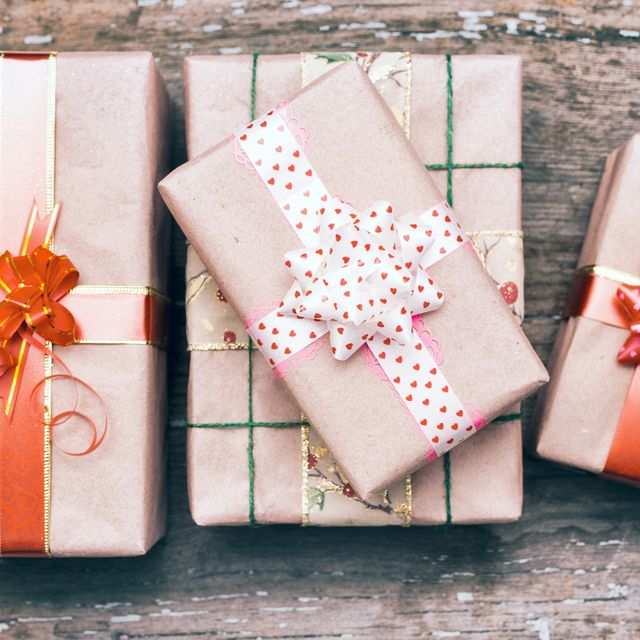 Gift boxes on wooden table
