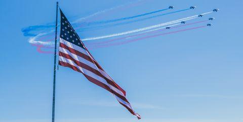 Flag, Sky, Line, Pole, Flag of the united states, Vehicle,
