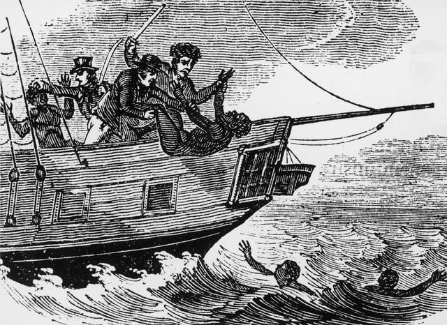 slave traders throwing slaves overboard to avoid capture by a patrol ship, circa 1833 although outlawed in the british empire in 1807, slavery persisted and captains of slave ships were known to order their cargo to be thrown overboard rather than face penalties  from an anti slavery periodical, pub 1833 photo by hulton archivegetty images