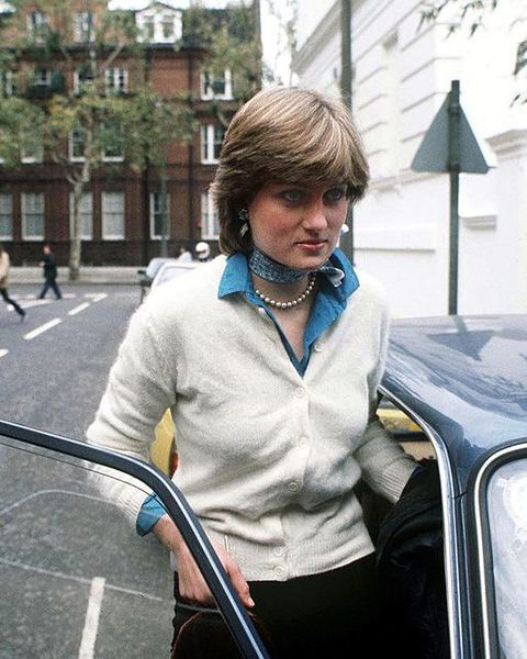 lady diana spencer outside her flat, 1980