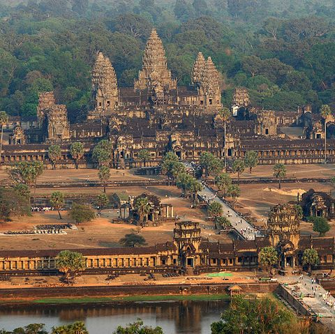 An aerial view of the Angkor Wat temple