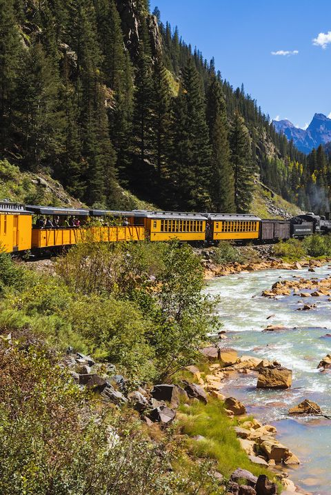Durango and Silverton Narrow Gauge Railroad on Animas River, San Juan National Forest, Colorado, USA