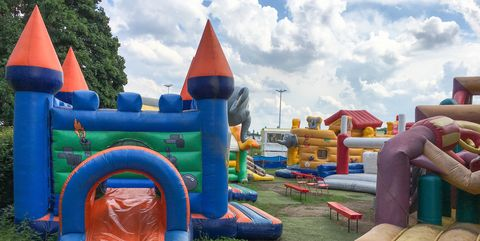 Inflatable, bounce house, Outdoor play equipment, Games, Public space, Fun, Chute, Recreation, Playground, Play,