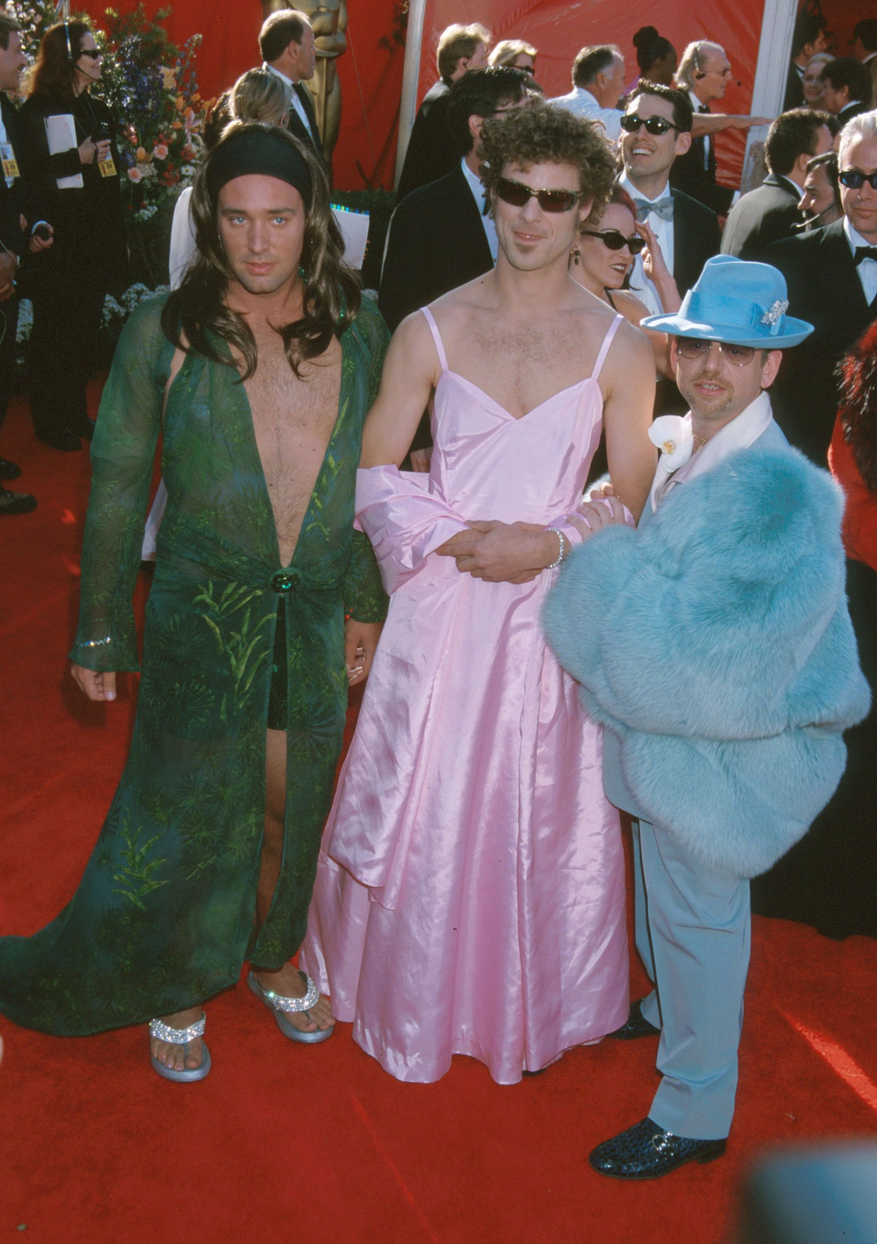 2000: When the 'South Park' creators mimicked iconic red carpet looks while high South Parker creators Trey Parker, Matt Stone, and Marc Shaiman showed up to the 2000 Oscars red carpet in... women's clothing , awkwardly mimicking Jennifer Lopez and Gwyneth Paltrow. They later admitted they were on acid at the time.