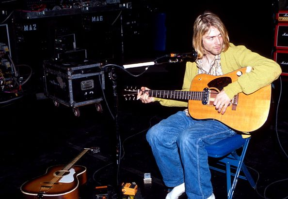 "Kurt Cobain during ""MTV Unplugged"" at Sony Studios in New York City in 1993."