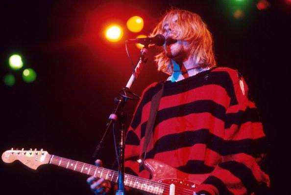Kurt Cobain performs on stage in 1993.