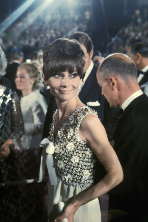 audrey hepburn at the dorothy chandler pavilion in los angeles, california photo by ron galellaron galella collection via getty images