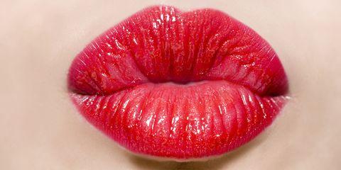 Lip, Red, Close-up, Lipstick, Mouth, Pink, Lip gloss, Material property, Cosmetics, Gloss,