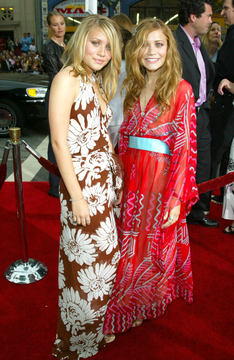 June 18, 2003 At the premiere for Charlie's Angels: Full Throttle , Mary-Kate wore a kimono-inspired maxi dress, while Ashley chose a daisy printed halter gown.