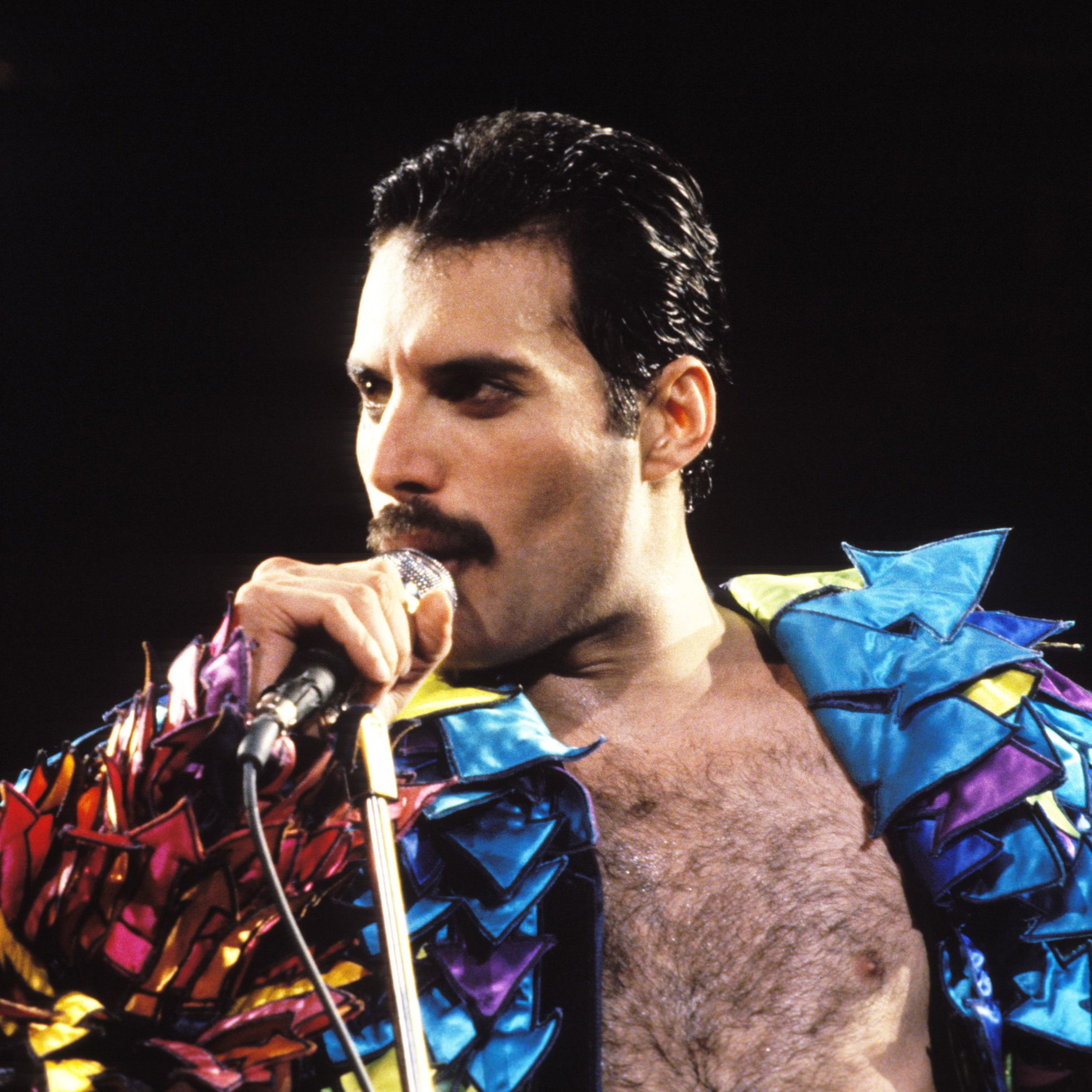 1984: Freddie Mercury Whether he was serving full-on glam or dressing up in flamboyant costumes, the Queen frontman's mustache was always part of the total package.