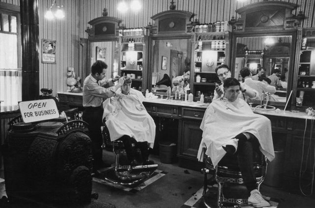 barbers at work in a traditional barbers shop, circa 1970 photo by fox photoshulton archivegetty images