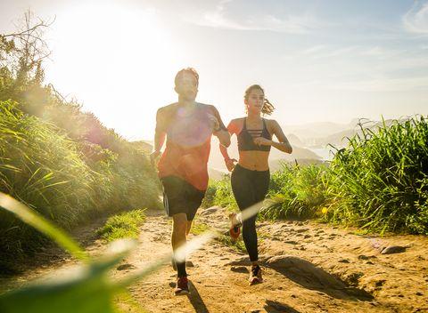 People in nature, Nature, Green, Jogging, Grass, Sky, Friendship, Sunlight, Running, Trail,