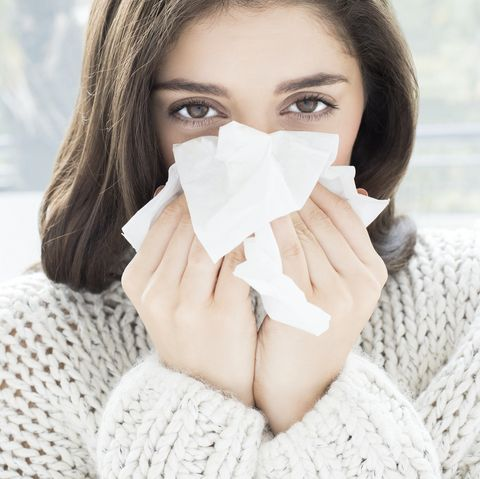 woman with a blocked nose