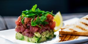Close-Up Of Tuna Tartare With Avocados Served In Plate