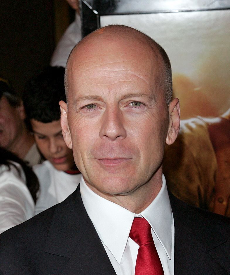 Bruce Willis (head that's bare) Willis' head was just made to be shaved.